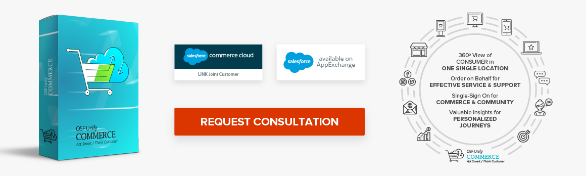 salesforce commerce cloud LINK Joint Customer salesforce available on AppExchange OSF UnifyCOMMERCE request consultation